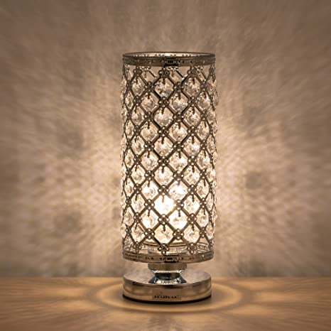 Haitral Crystal Table Lamp Modern Night Light Lamp With Metal Frame