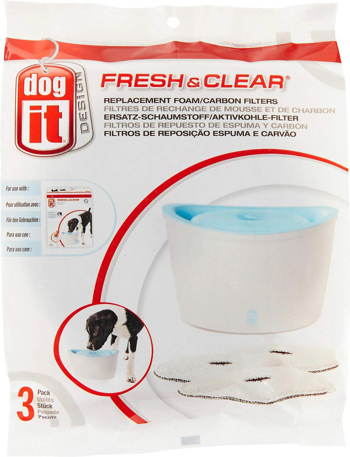 Dogit Fresh and Clear Pet Fountain Foam Carbon Cartridge, 3 Count, 6 Pack by Dogit
