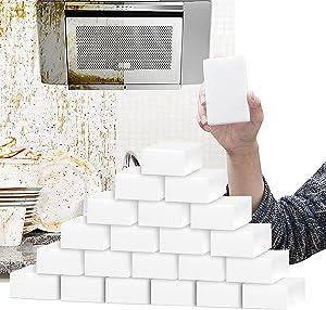 50Pack Magic Sponge Erasers, Durable Large Melamine Foam Bulk Sponge Sheets Cleaning Sponges Kitchen Scrub Pads for Dish, Pots, Bathtub, Furniture, Baseboard, Sink, Floor Wall Shoes Cleaner