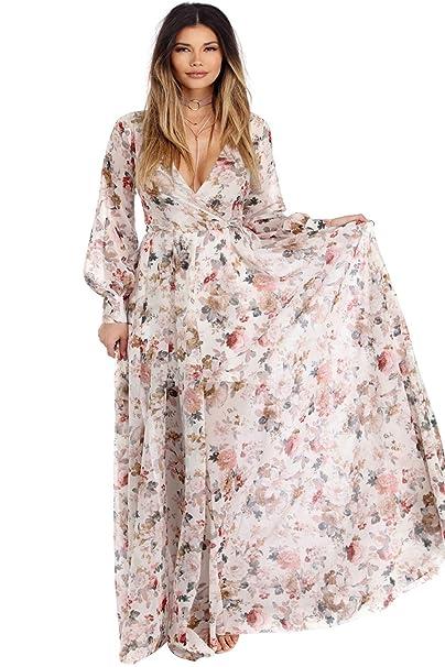 d2dd7e96a3ac Landove Vestiti Chiffon Lungo Donna Scollo V Stile Boho Chic  Amazon.it   Abbigliamento