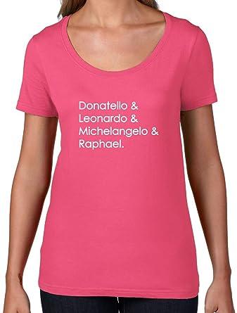 Amazon.com: Ninja Turtle nombres – para mujer cuello redondo ...