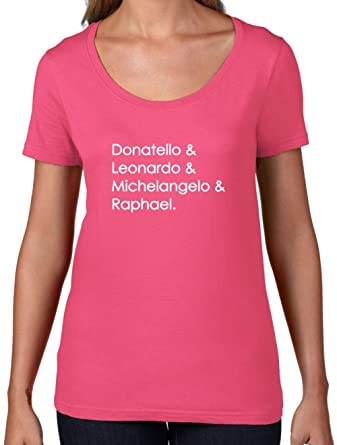 Amazon.com: Dressdown Ninja Turtle Names - Womens Scoop Neck ...