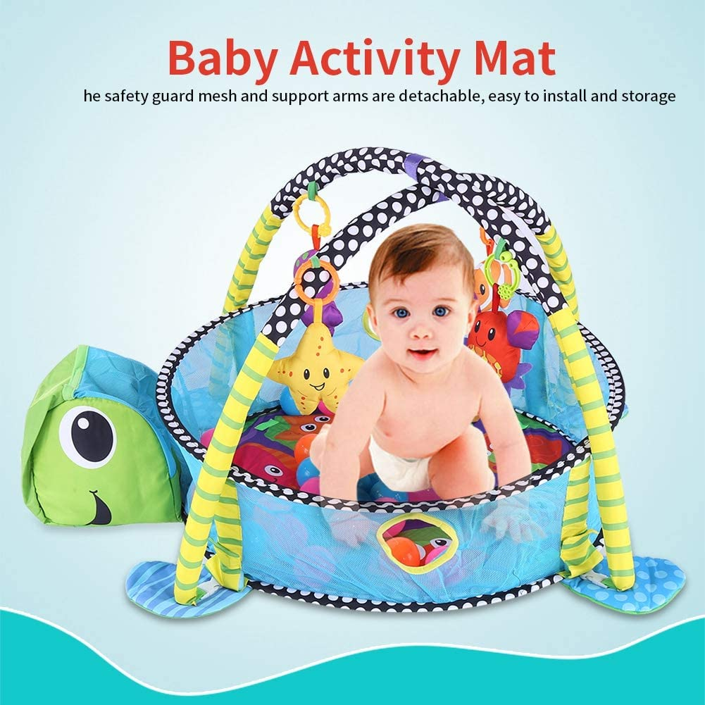 Wakects Baby Parte Actividad colchoneta de Gimnasia Manta para Gatear con Suave Parte Arco Le/ón con Rejilla Protectora Malla Pelotas Juguete