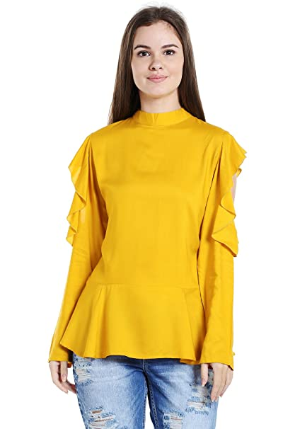 bbab59f5237 ishin Liva Rayon Yellow Solid Cold Shoulder Party Wear Casual Daily Wear  New Collection Latest Design Trendy Women s Western Wear Top  Amazon.in   Clothing   ...