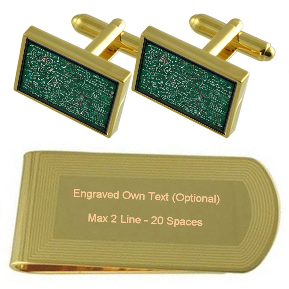 Professor Math Chalk Board Gold-tone Cufflinks Money Clip Engraved Gift Set