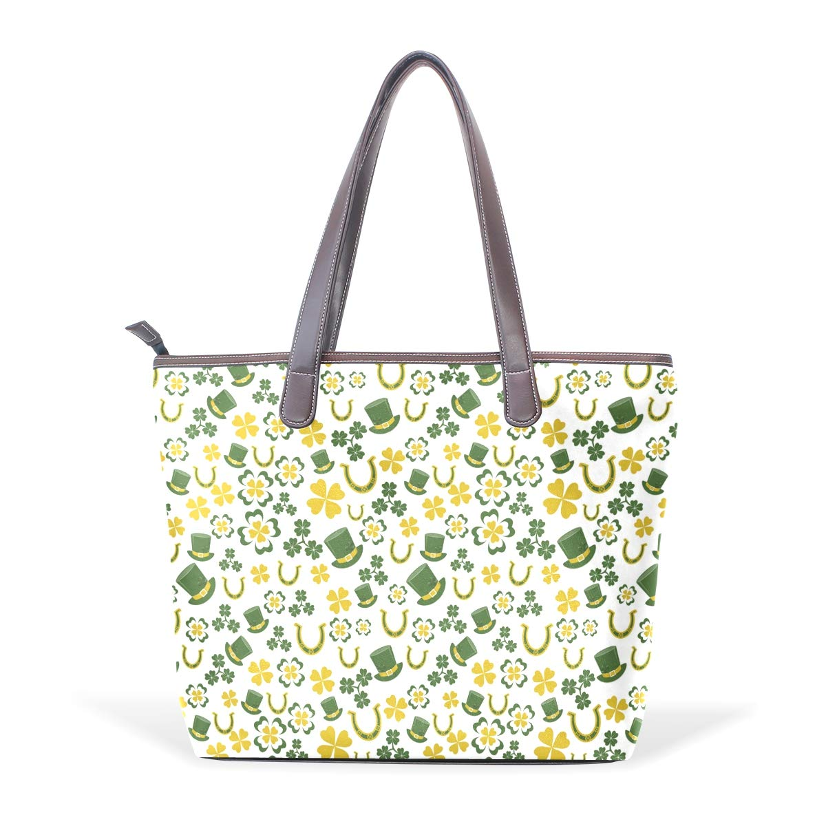 Womens Leather A Fine St Patricks Day Yellow Clover Handbag Satchel Tote Bag Tote Purse