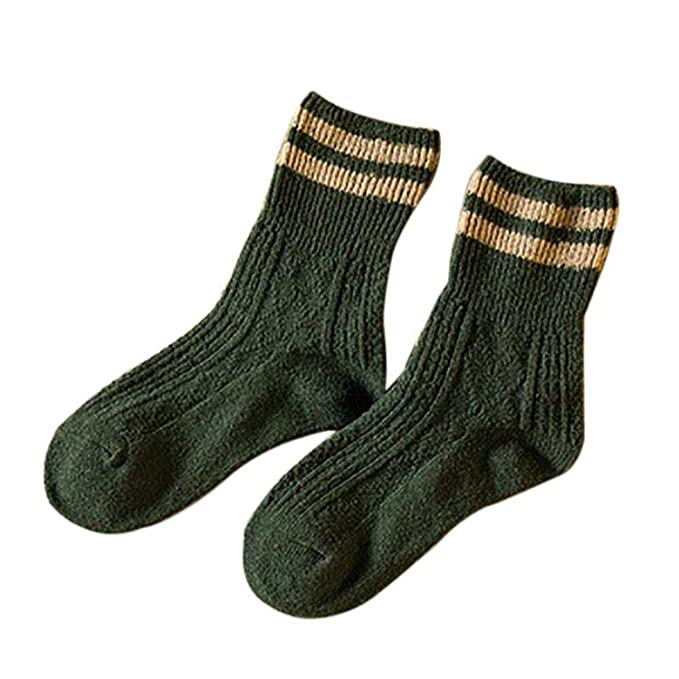 Warm Women Socks Striped 3D Autumn Winter Christmas Woman Female Funny Sock Calcetines,Army Green