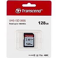 Transcend Ts128Gsdc300S Sdxc Geheugenkaart, I, C10, U3, V30, Zwart, 128Gb