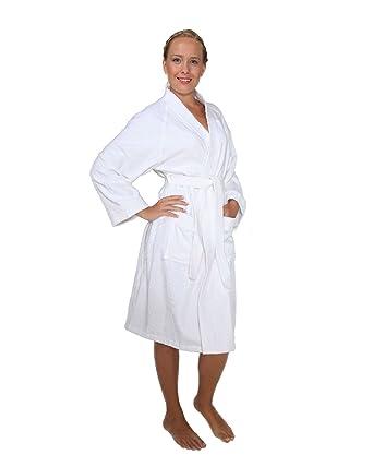 886257995aa15 Archee - Peignoir de Bain en éponge Court en stil Kimono pour Femme 100%  Coton Tissu Bouclette Doux et léger Robe de Chambre: Amazon.fr: Vêtements  et ...