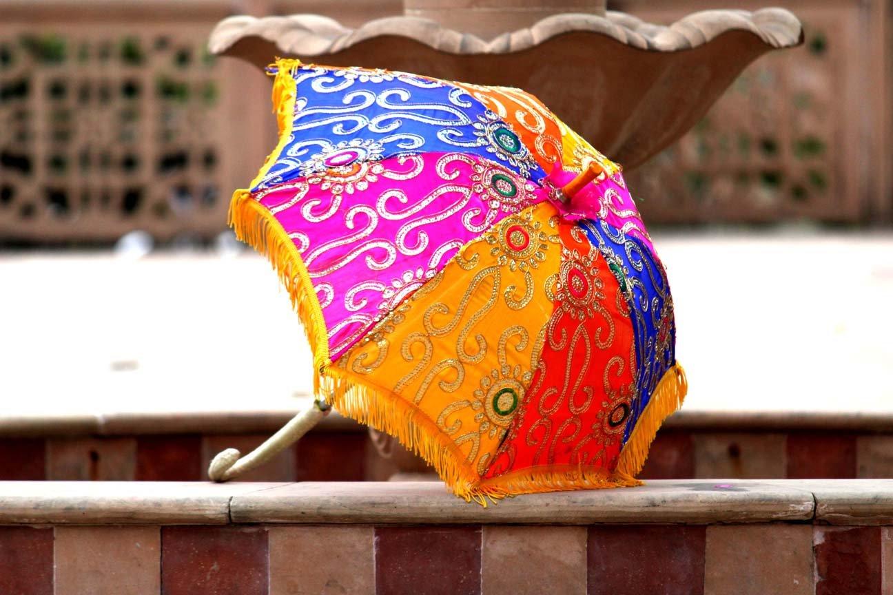 Indian Bohemian Indian Handmade Design, Cotton Multi Color Embroidery Sun Umbrella Parasol 24 Inches by APRATIM (Image #1)