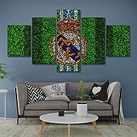 HSART Lona Pinturas para Sala Modular Impresiones HD Imágenes 5 Piezas Real Madrid Club de Fútbol Carteles Casa Mural Decoración,A,20x30x2+20x50x1+20x40x2