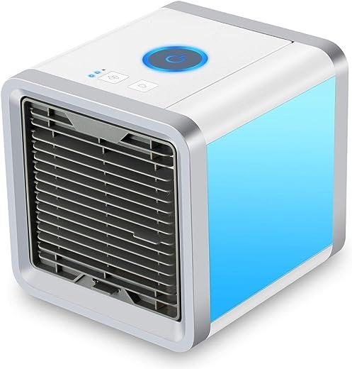 مُكيف هواء صغير محمول، مبرد هواء للمساحة الشخصية بمنفذ يو اس بي، مُكيف هواء وجهاز ترطيب ومُنقّي 3 في 1 مزود ب7 أضواء ملونة