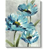 Abstract Blue Flower Wall Art: Floral Artwork Picture Painting on Canvas for Office