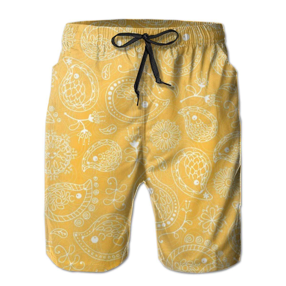 ZORITO Mens Swim Trunks Quick Dry Summer Holiday Beach Shorts with Mesh Lining Hedgehog Paisley White Yellow Beachwear