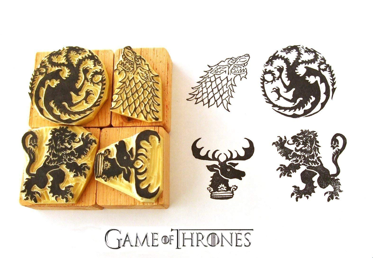 Game of Thrones inspired Hand carved rubber stamp set 2. House Targaryen. House Stark. House Lannister. House Baratheon Sigils