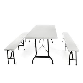 Sonlex Campinggarnitur Bierzelt Garnitur Klappbar 1 Tisch 2 Bänke