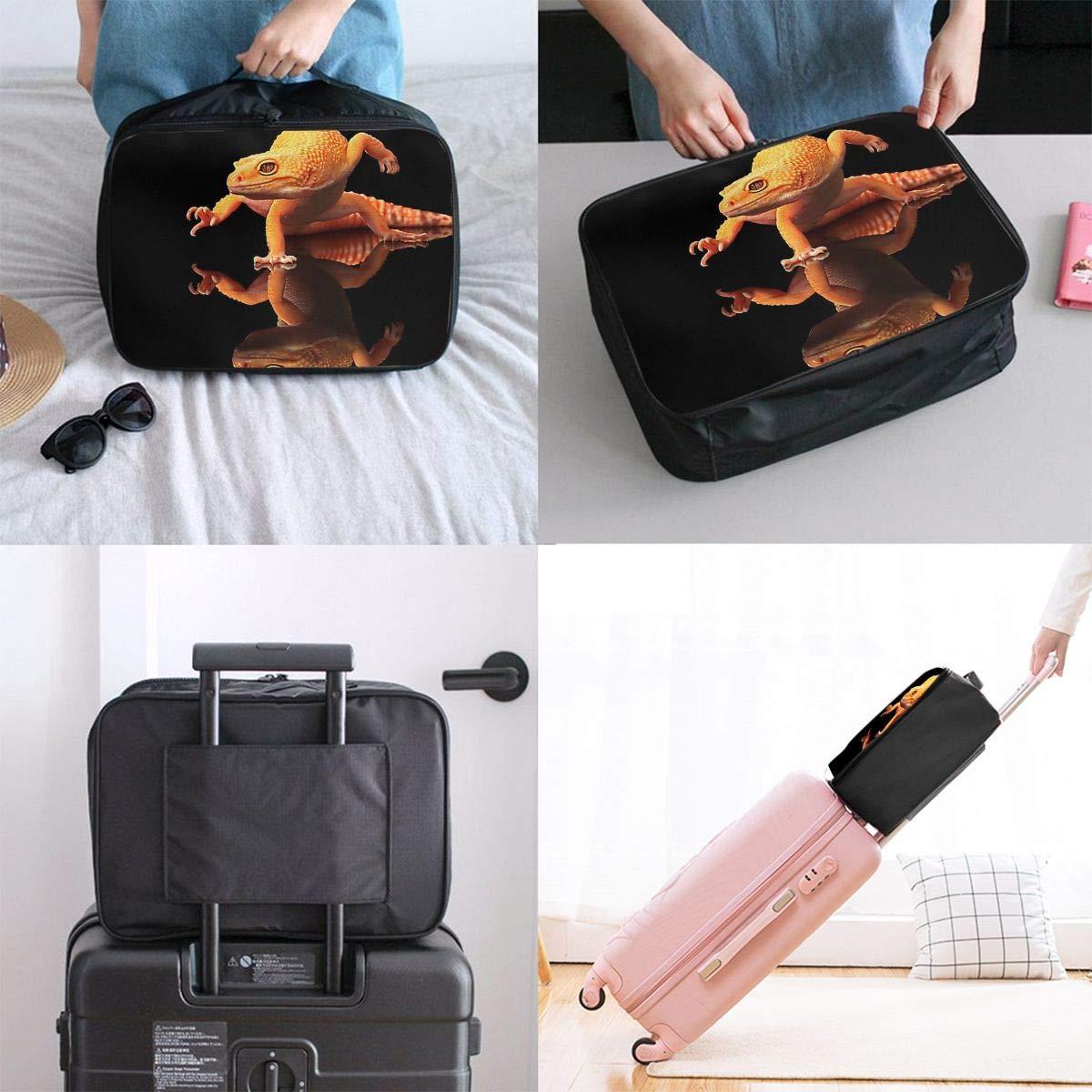 Travel Luggage Duffle Bag Lightweight Portable Handbag Animals Geckos Black Large Capacity Waterproof Foldable Storage Tote