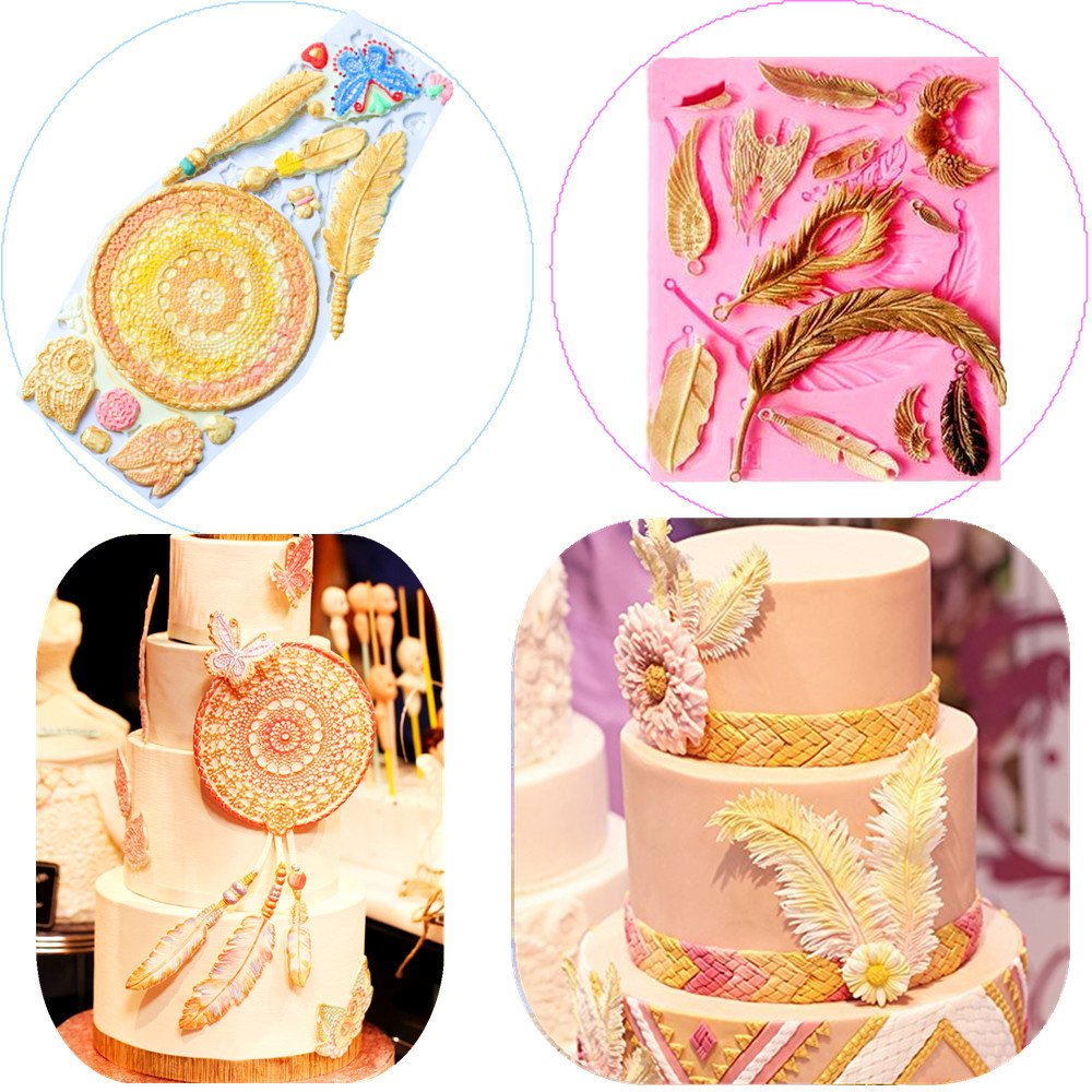 (Set of 2) Sakolla Dream Catcher Cake Decoration 3D Big Feathers Silicone Mold Fondant Mold DIY Cake Decorating Tool Candy Chocolate Mold