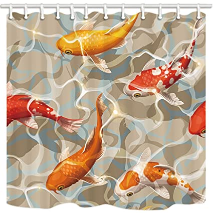 HiSoho Varicolored Koi Fish Shower Curtains For Bathroom Ocean Tropical Swimming In Water