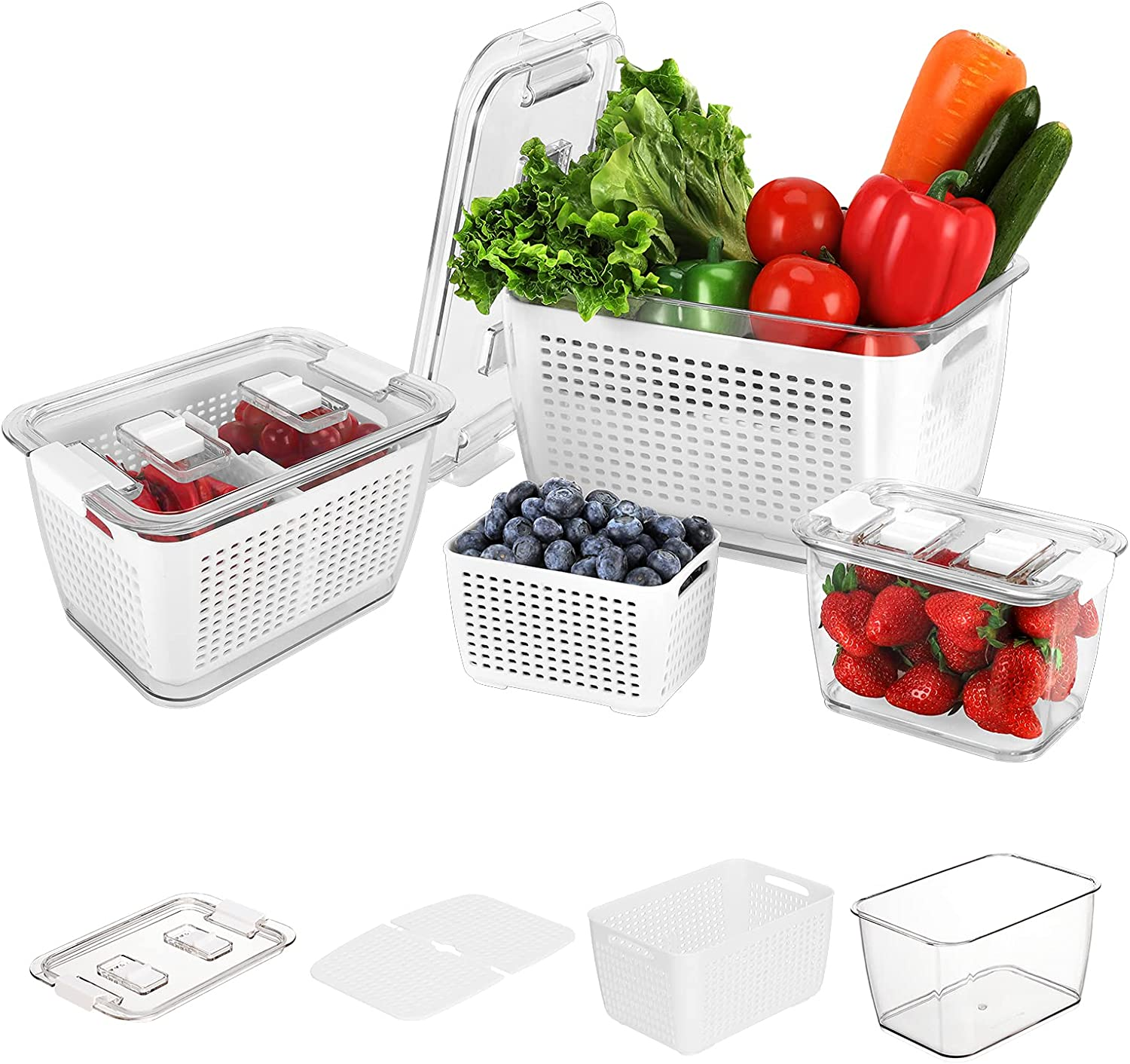 Fresh Food Storage Containers,3PACK Produce Saver Refrigerator Organizer Keeper Bins with Lids Vents,Adjust the Storage Space Freely, Removable Foldable Drain Tray for Berry, Fruits and Vegetables.