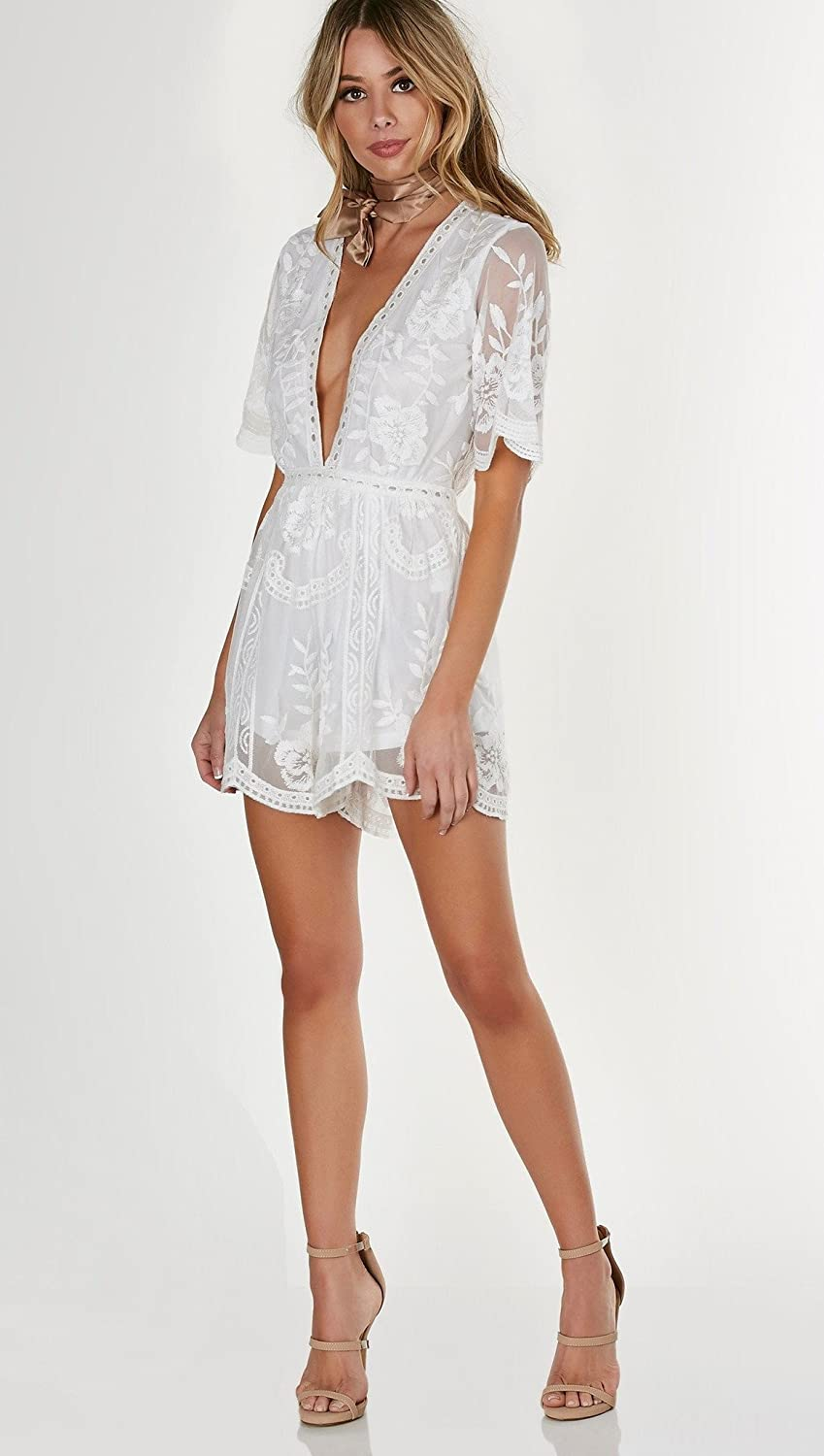 8b88bfa5fb9 Amazon.com  Honey Punch Antique Embroidered Crochet Deep V Neck Romper  White Lace  Clothing
