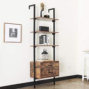 oneinmil Industrial Bookshelf, 4-Shelf Bookcase with Wood Drawers and Matte Steel Frame, Storage Rack Shelves, Living Room, Bedroom, Modern Accent Furniture, Rustic Oak/Black