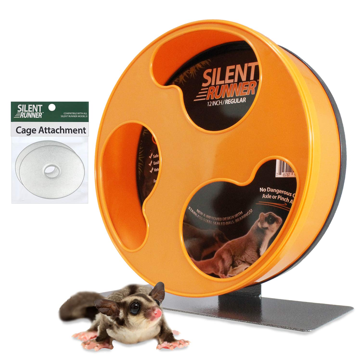 Exotic Nutrition Silent Runner 12'' Regular - Durable Exercise Wheel + Cage Attachment Hardware - for Sugar Gliders, Female Rats, Hamsters, Mice and Other Small Pets by Exotic Nutrition