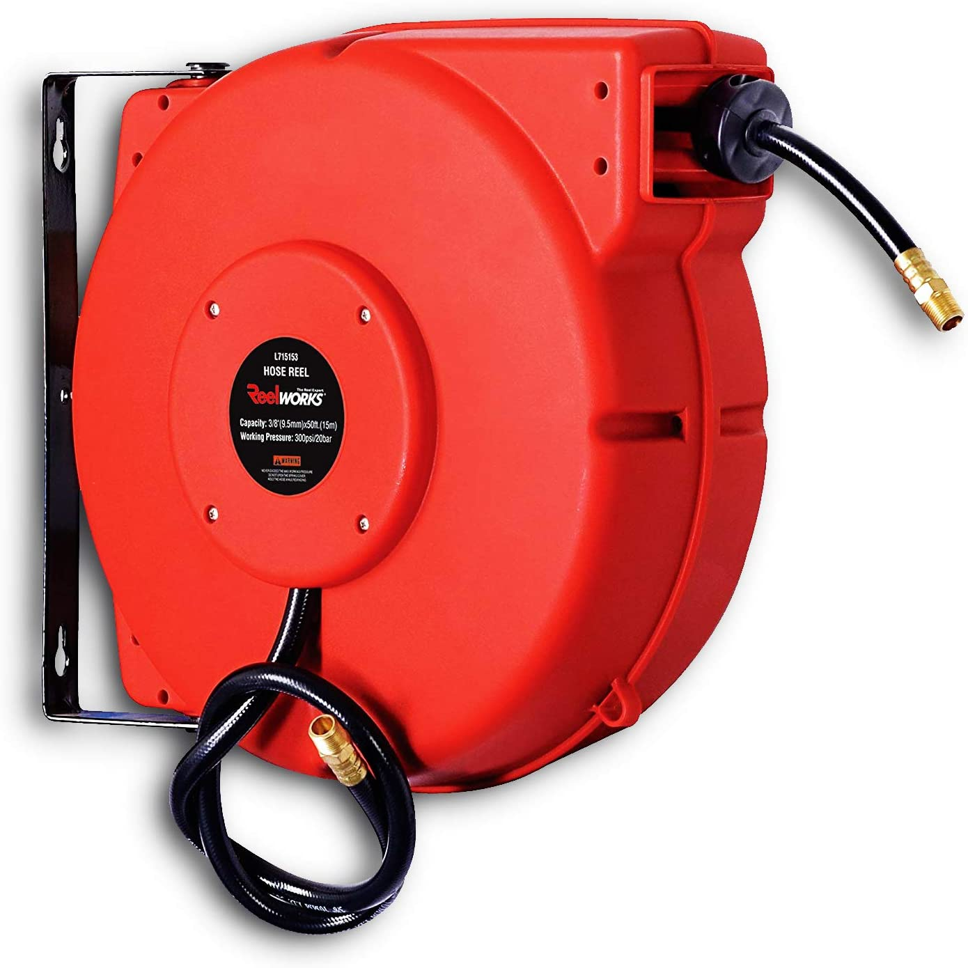 "ReelWorks L715153A Plastic Retractable Air Compressor/Water Hose Reel with 3/8"" x 50' Hybrid Polymer Hose, Max. 300 psi"