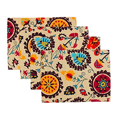 KEPSWET Placemats Set of 4 Colorful Reversible Placemats for Dining Table Cotton Washable Table Mats Boho 11.8x15.7Inch