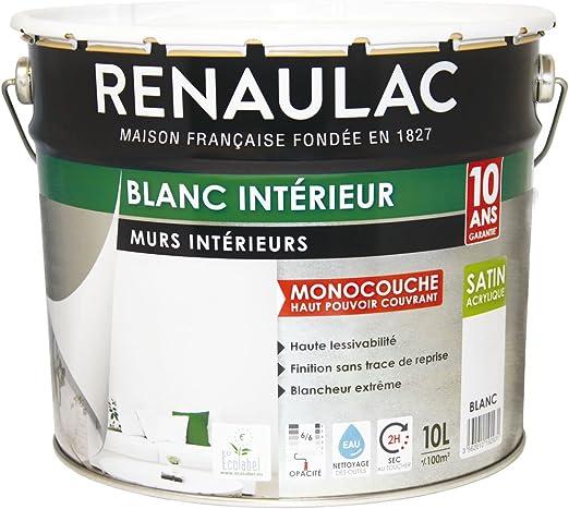 Renaulac Peinture Intérieur Murs Plafonds Monocouche Acrylique Blanc Satin 10l 100m