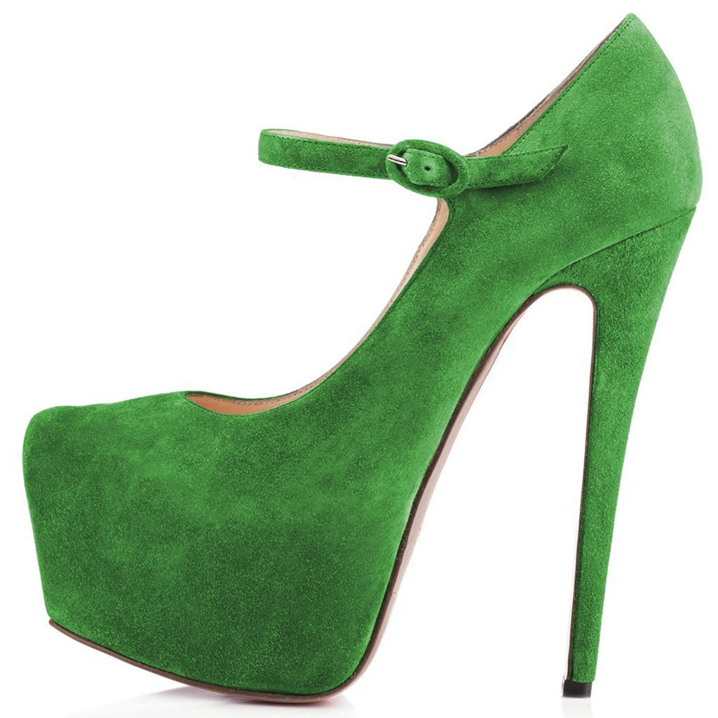 Women Mary Jane Platform Pumps Ankle Strap Stiletto High Heels Dress Shoes B071CPNJV6 15 B(M) US|Moss Green