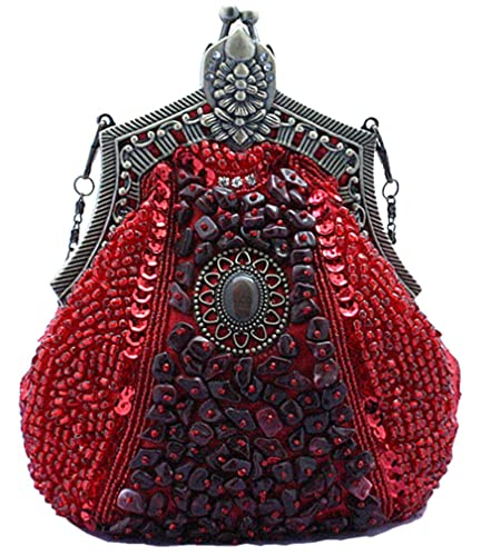e06e0a62f Bywen Womens Vintage Beaded Purse Party Clutch Shoulder Bags Red: Handbags:  Amazon.com