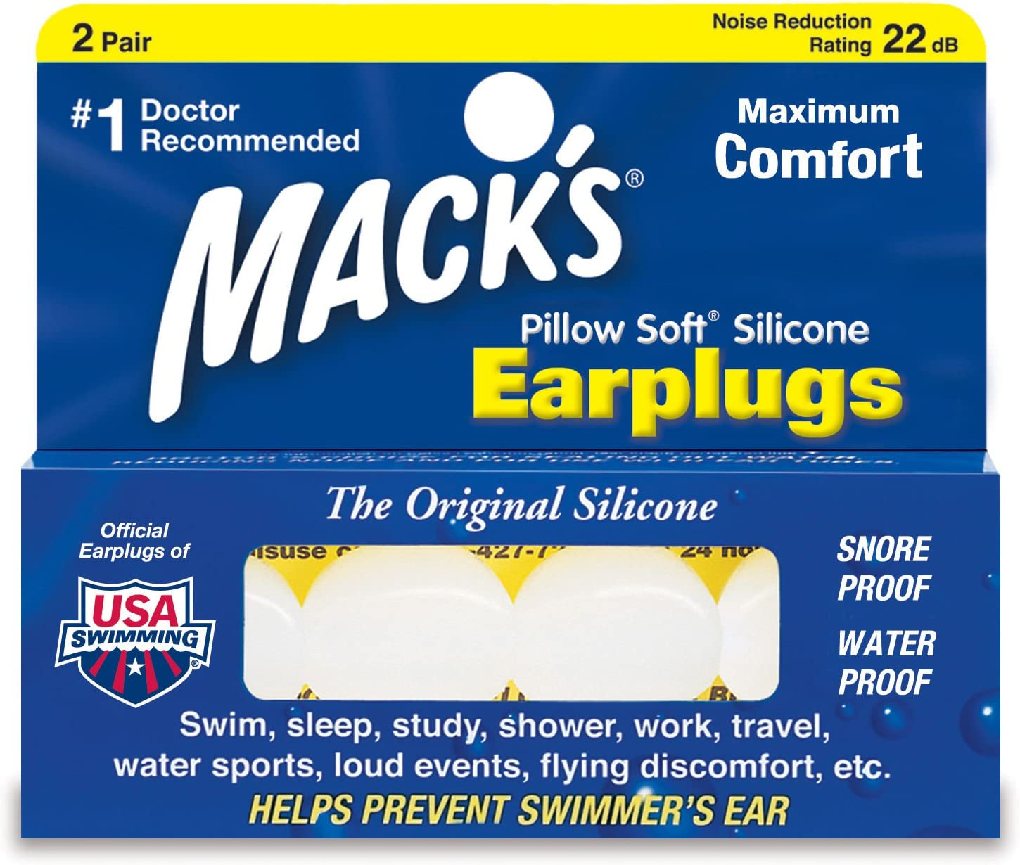 Mack's Pillow Soft Moldable Silicone Putty White Earplugs 2 Pairs Pack