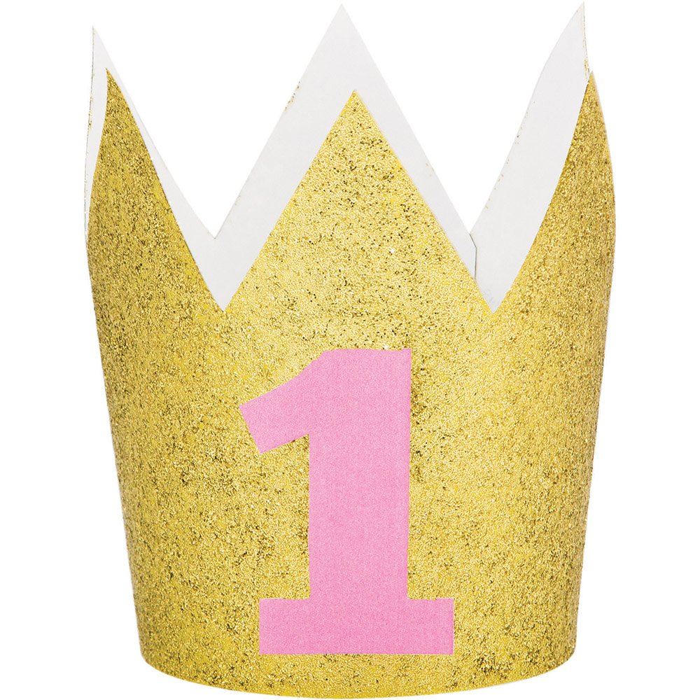 Party Central Set of 6 Gold and Pink Glittered Finish Hat Crowns 4''