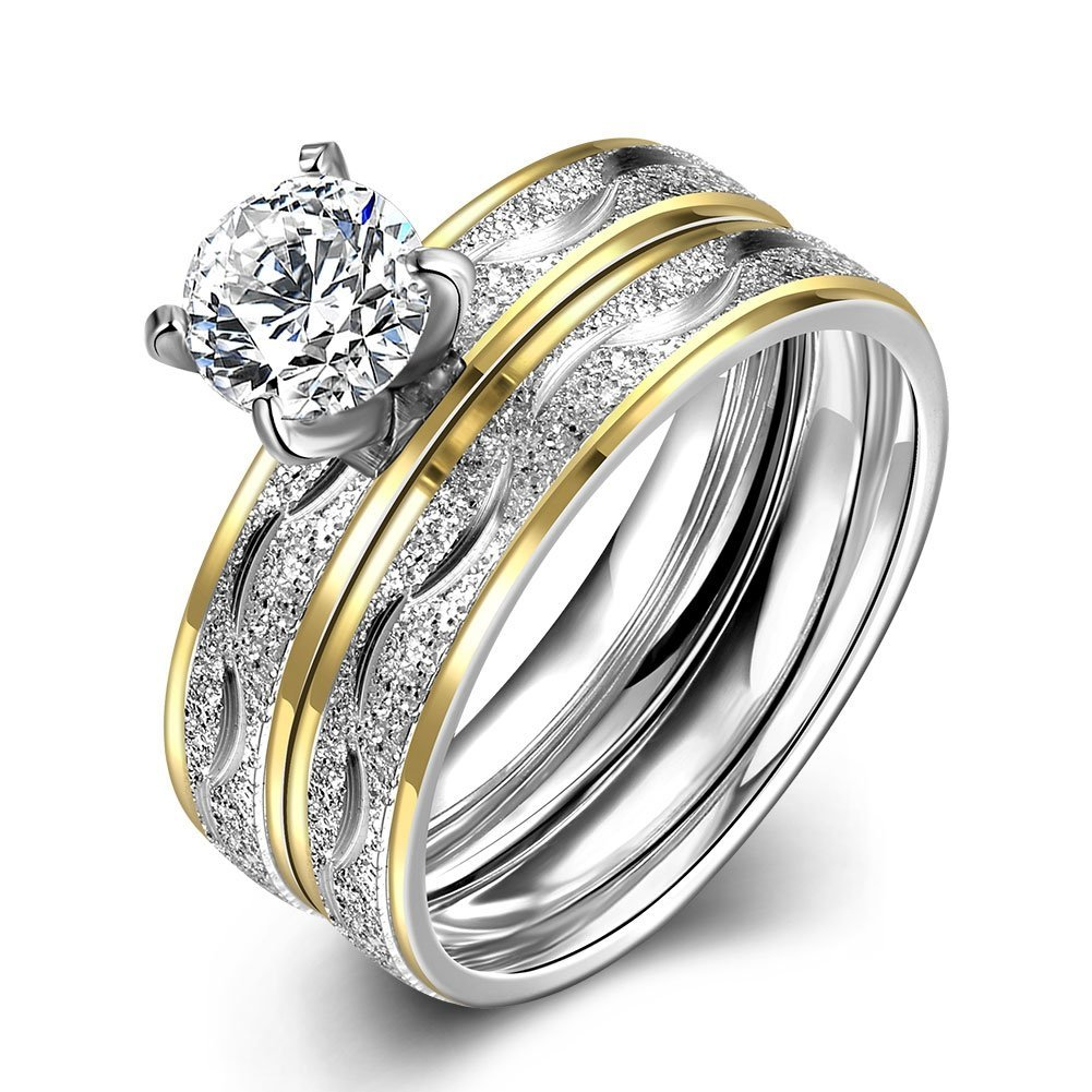 PMTIER Women's Stainless Steel Princess Diamond Ring Set Silver Gold Crystal Engagement Wedding Band 66caZYPTR063