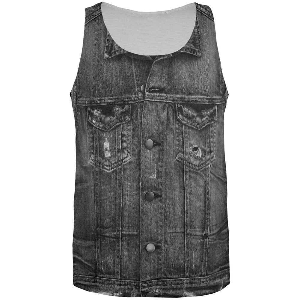 Old Glory Halloween Black Denim Vest All Over Adult Tank Top
