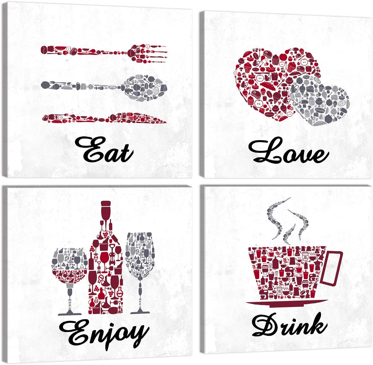 KALAWA Inspirational Kitchen Signs Restaurant Wall Decor Funny Red Maroon Grey White Cafe Bar Wall Decor Eat Drink Love Enjoy Farmhouse Dining Room House Decor Canvas Framed Ready to Hang 12x12 Inch