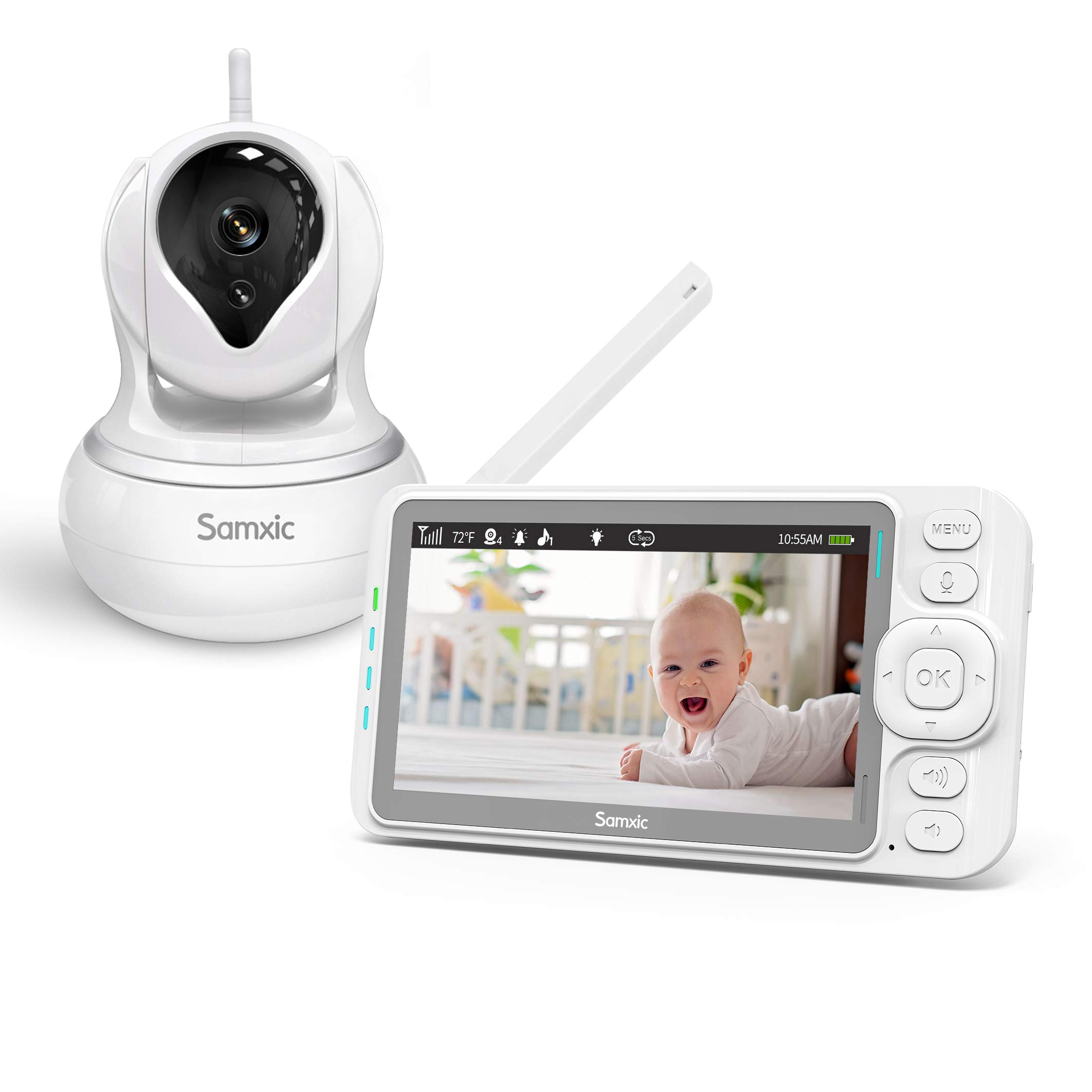 Samxic Video Baby Monitor with 720P Camera, 5 Inches Display, Crying & Temperature Alert, Two-Way Talk, No Glow Night Vision, Remote Pan & Tilt & Zoom, High Privacy Baby Monitor System by Samxic (Image #1)