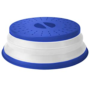 """Tovolo 81-31548 Vented Collapsible Microwave Splatter Proof Food Plate Cover With Easy Grip Handle Dishwasher-Safe, BPA-Free Silicone & Plastic, 10.5"""" Round, Stratus Blue"""