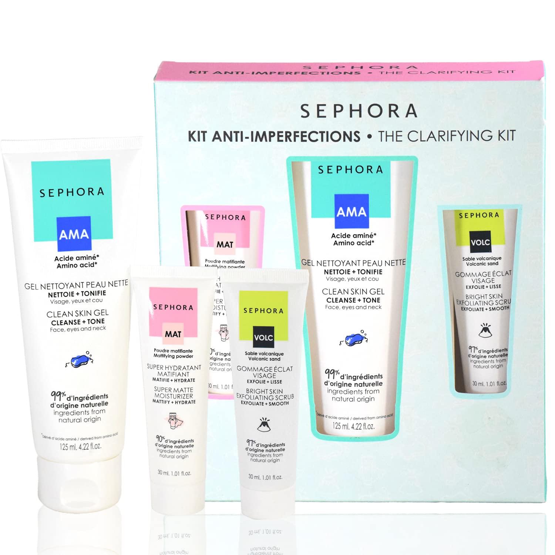 Sephora The Clarifying Kit - Clean Skin Gel Cleanser Toner, Super Matte Hydrating Moisturizer, Bright Skin Exfoliating Smoothing Scrub