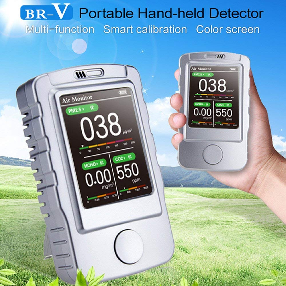 Hand Held Gas Detector Meter, BR-V Air Quality Monitor for PM1.0, PM2.5, PM10, TVOC, CO2 | 2.8inch Screen& Backlight | USB Recharge | Sound, Light by chizhuhong7
