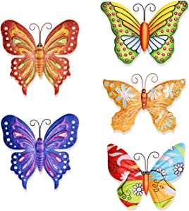 MYJAQI 5 Pack 3D Metal Butterfly Decor, Inspirational Wall Decor Sculpture Hanging Indoor Outdoor for Home, Bedroom, Living Room, Office, Garden(9.5 inch* 7.5 inch)