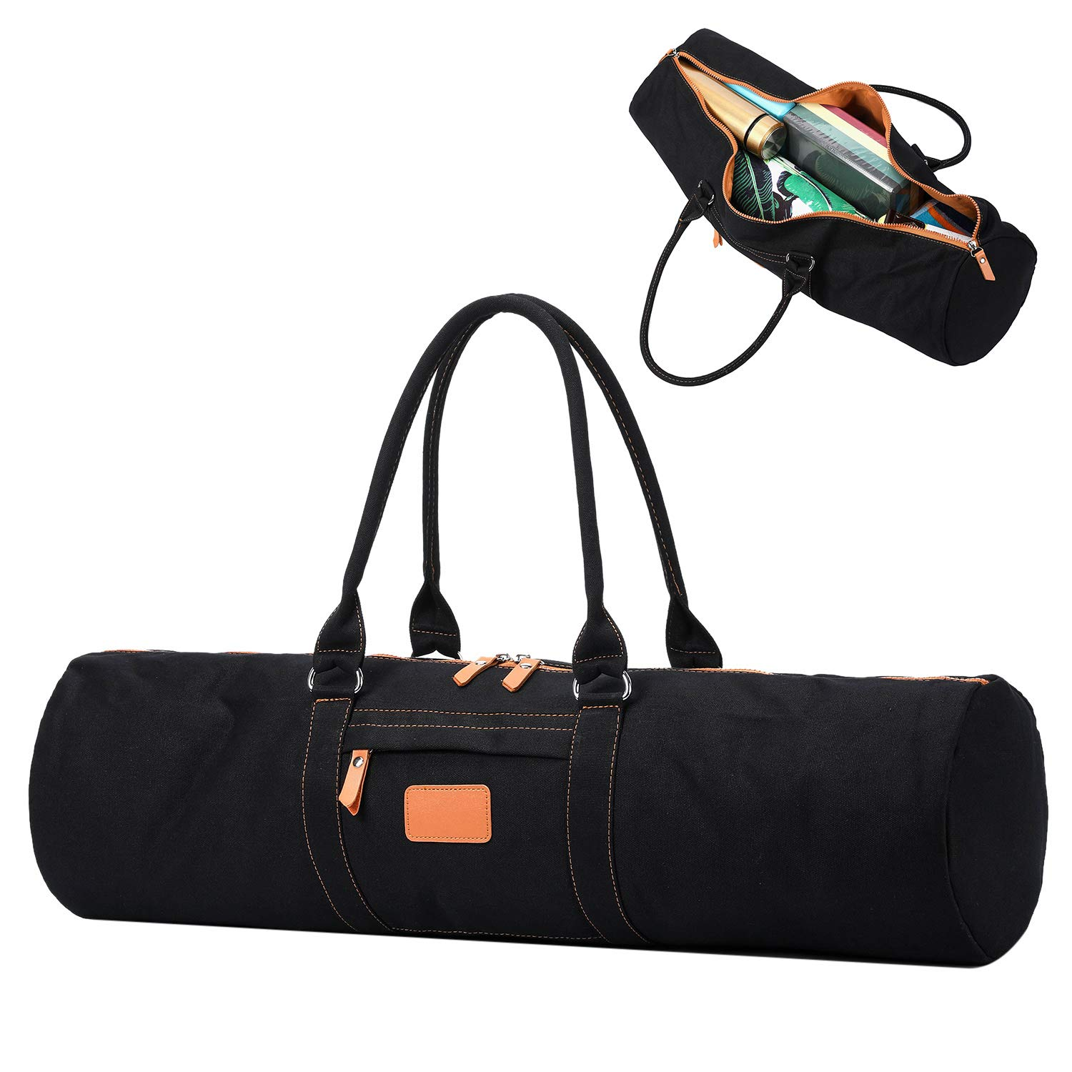 YanHao Yoga Mat Bags Canvas Yoga Mat Carrier with Zipper Pocket for Women and Men(Black)