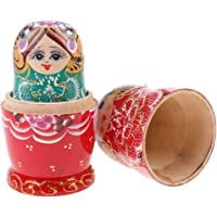BAOBLADE Floral Wooden Nesting Doll Russian Babushka Matryoshka Stacking Dolls 7PCS