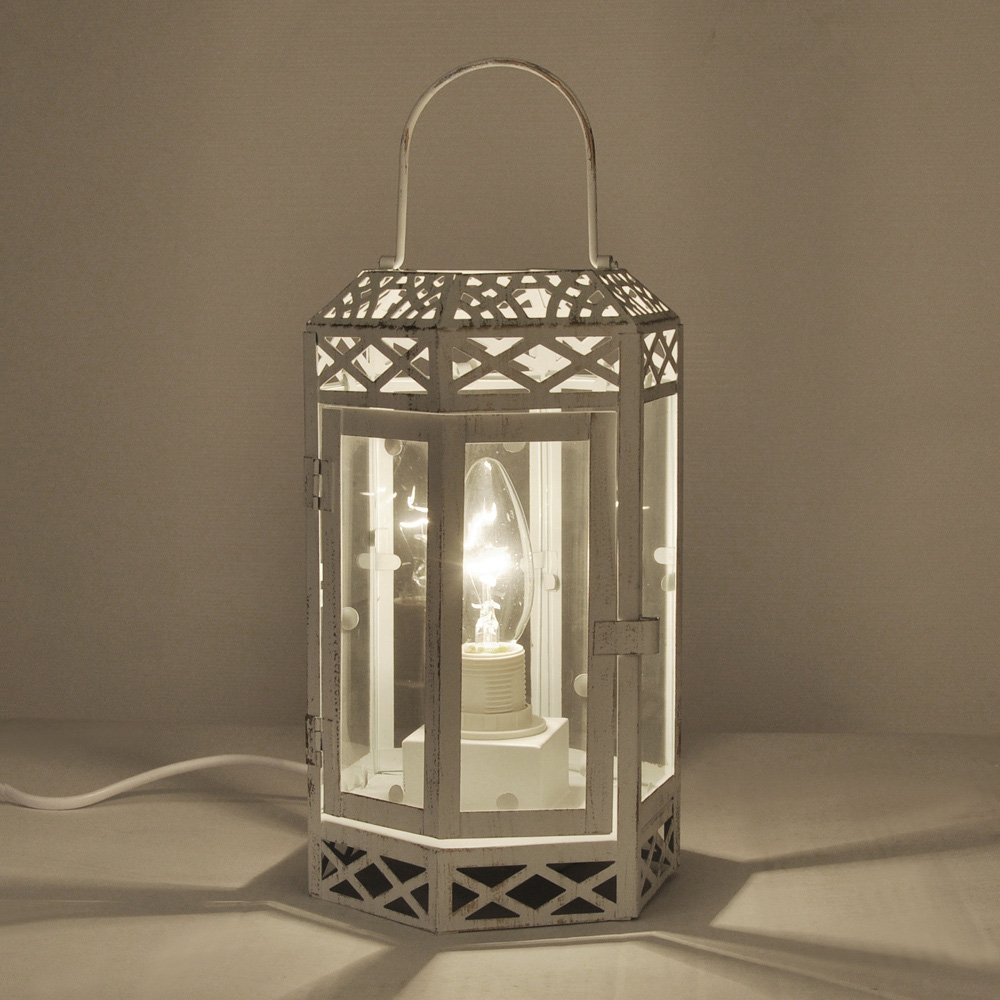 Vintage style creamdistressed metal glass shabby chic lantern vintage style creamdistressed metal glass shabby chic lantern table lamp amazon lighting mozeypictures Image collections