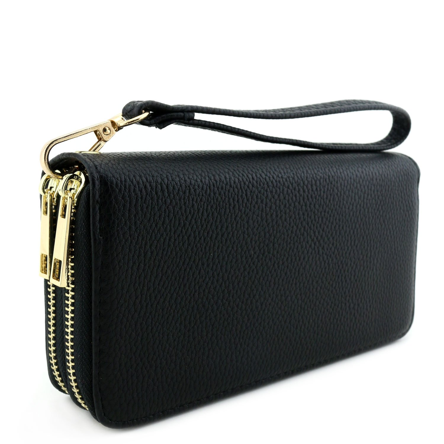 Double Zip Around Wristlet Wallet Black by Alyssa