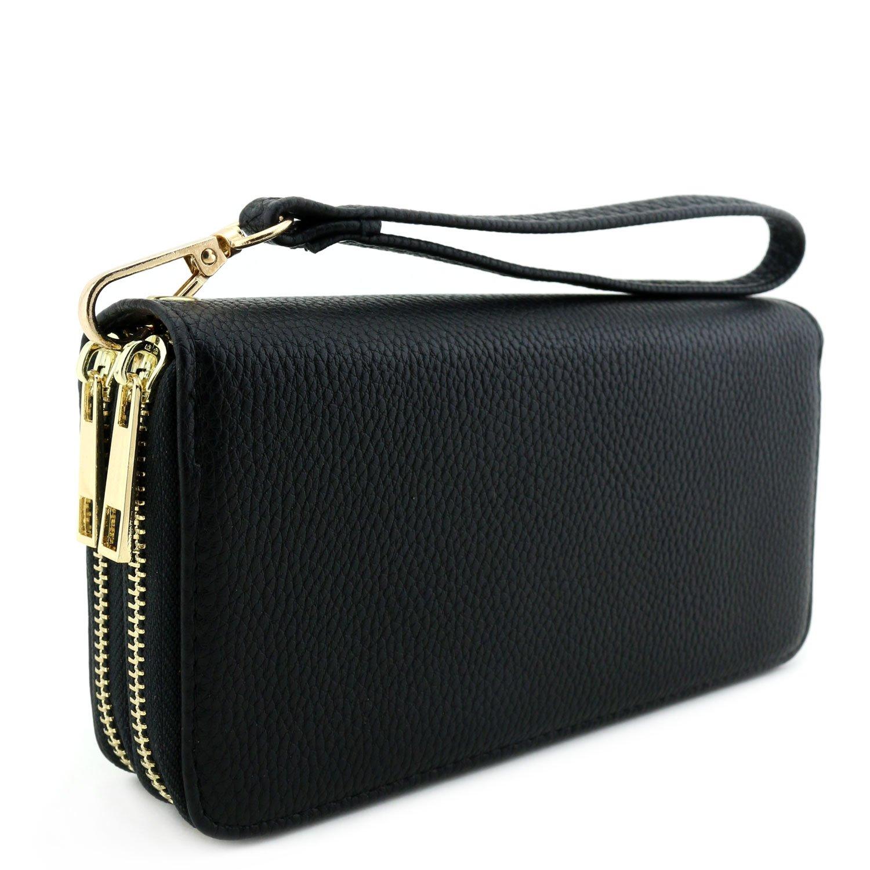 Double Zip Around Wristlet Wallet Black