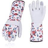 Vgo 1 Pair Goat Leather Gardening Gloves and Pruning Gloves, Extra-Long Sleeves Gauntlet, Thornproof, Puncture(Size L…