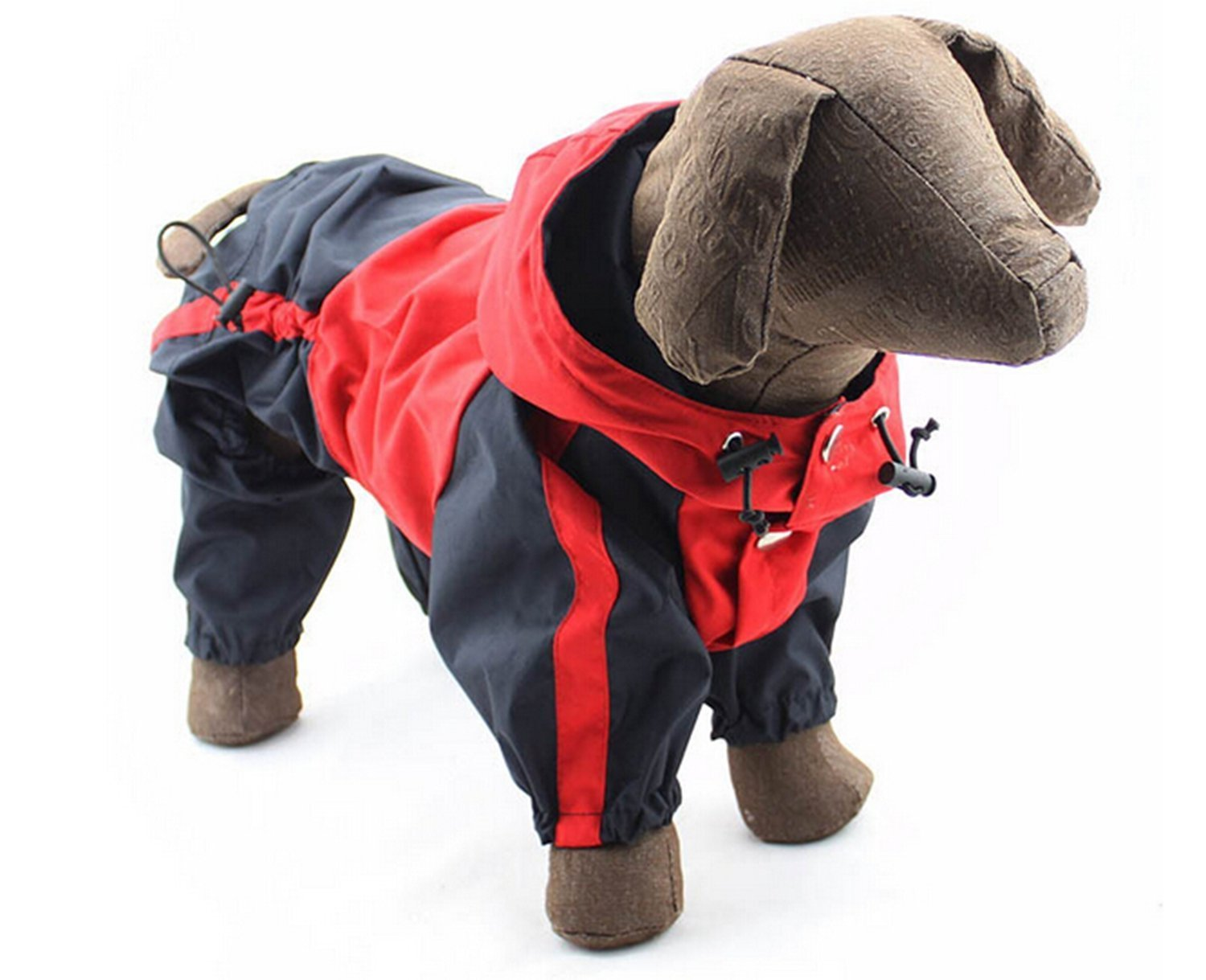 Red and Black 4XL Red and Black 4XL AUCH 1Pcs Four-Legged Hooded Dog Rain Jacket Jumpsuit Rain Poncho Coat Slicker for Medium to Large Dogs, Red
