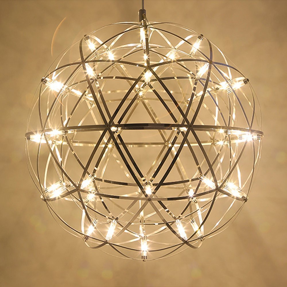 Tropicalfan Modern Spherical Stainless Steel Pendant Spark Chandelier Little Shining Star Creative Ceiling Light With 42 LED Light Beads 15.75 Inch For Living Room Mall by Tropican Fan